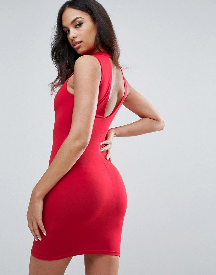 Rose Plunge Choker Bodycon - 10 / RED I Saw It First QZBv2