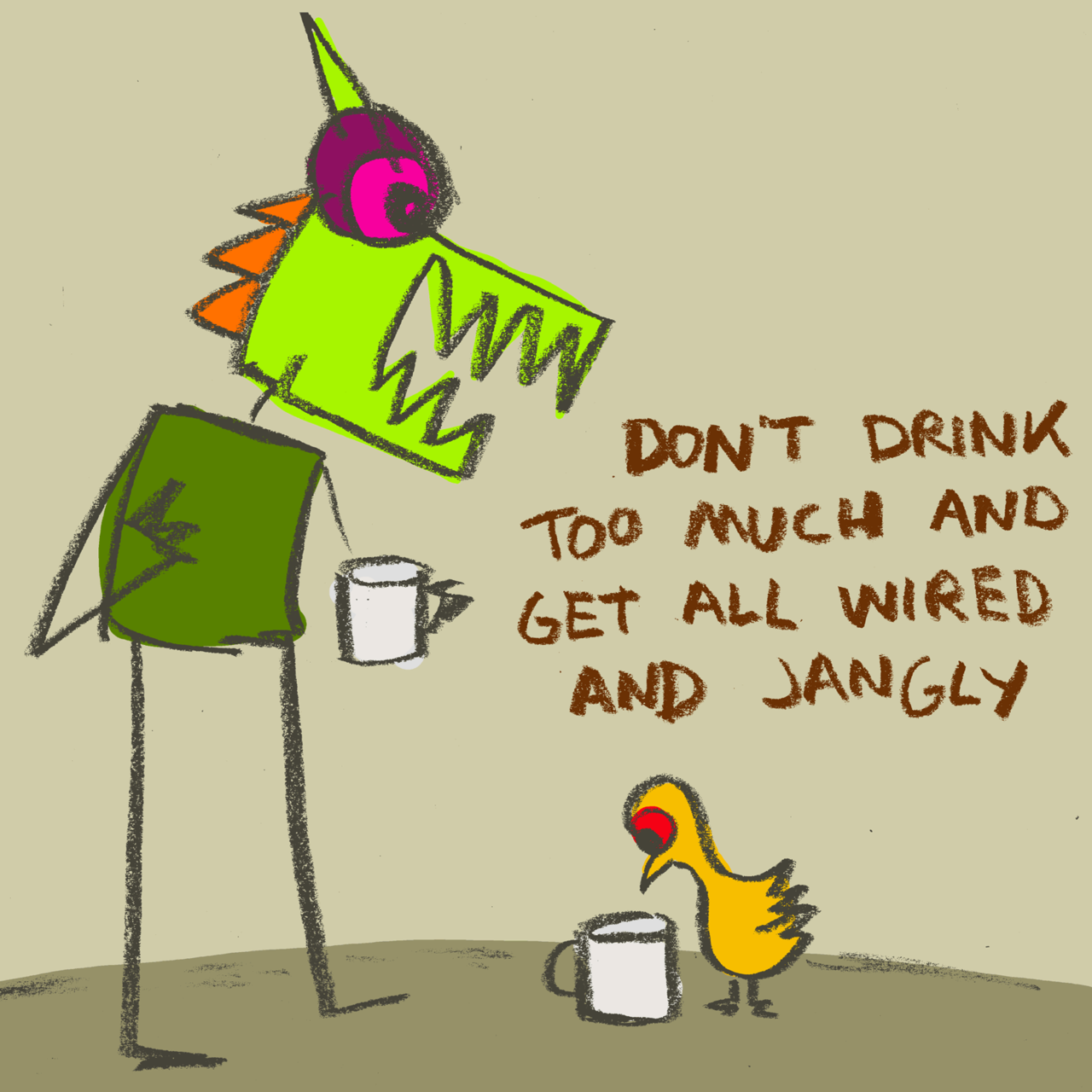 Crazy Monster and the bird having morning coffee. | Sam Brown ...