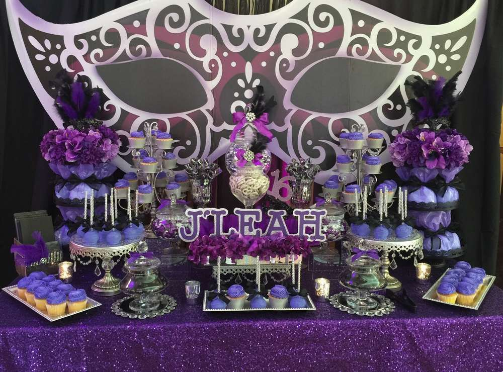 masquerade birthday party ideas dessert tables on catch my party pinterest bal de promo. Black Bedroom Furniture Sets. Home Design Ideas