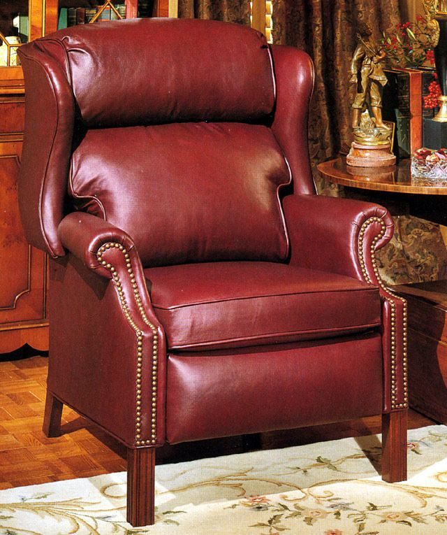 Super Comfy Leather Chippendale Red Recliner Leather