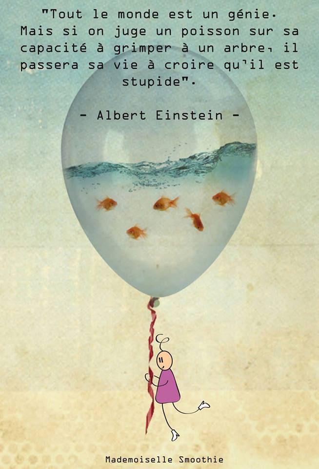 Tout Le Monde Est Un Génie : monde, génie, Épinglé, *Quelques, Mots...*, Citation, Einstein,, Stupide