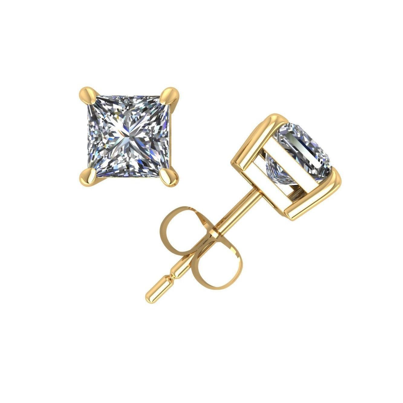 Trillion Designs 10k Yellow Gold 1 70 Carat Princess Cubic Zirconia Stud Earrings With Screw Back Stud Earrings Gold Jewelry Watches