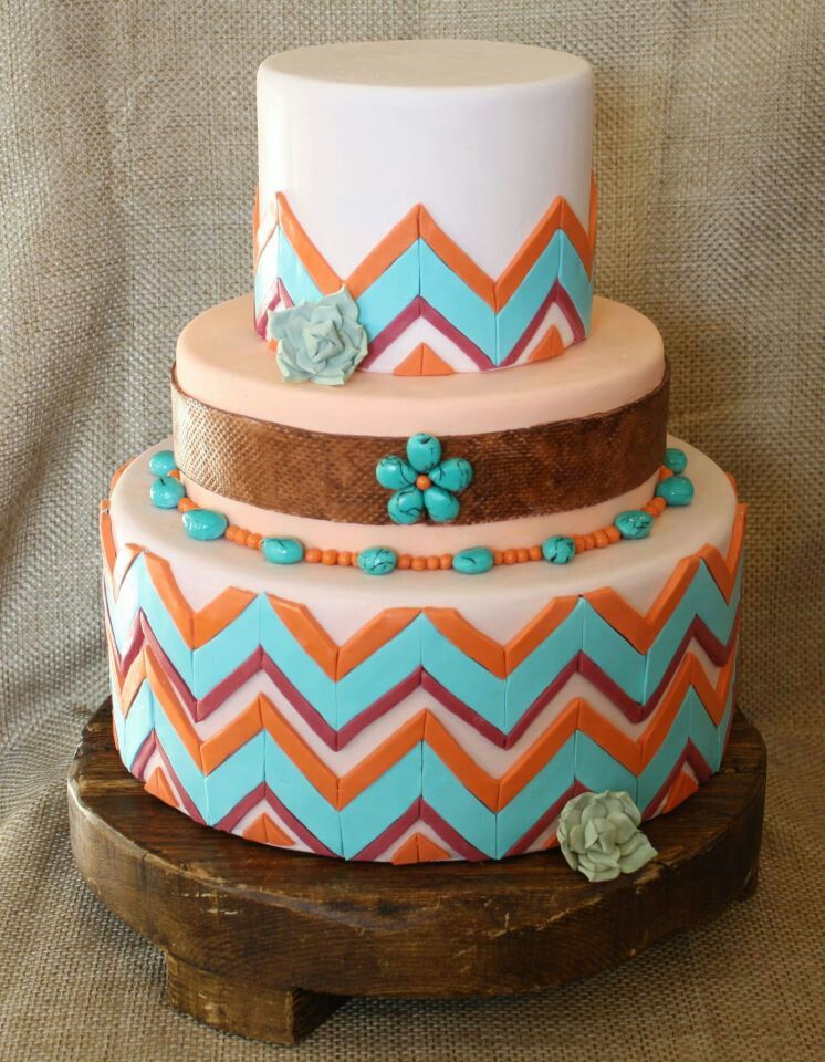 Burnt Orange Amp Turquoise Southwest Chevron Cakes