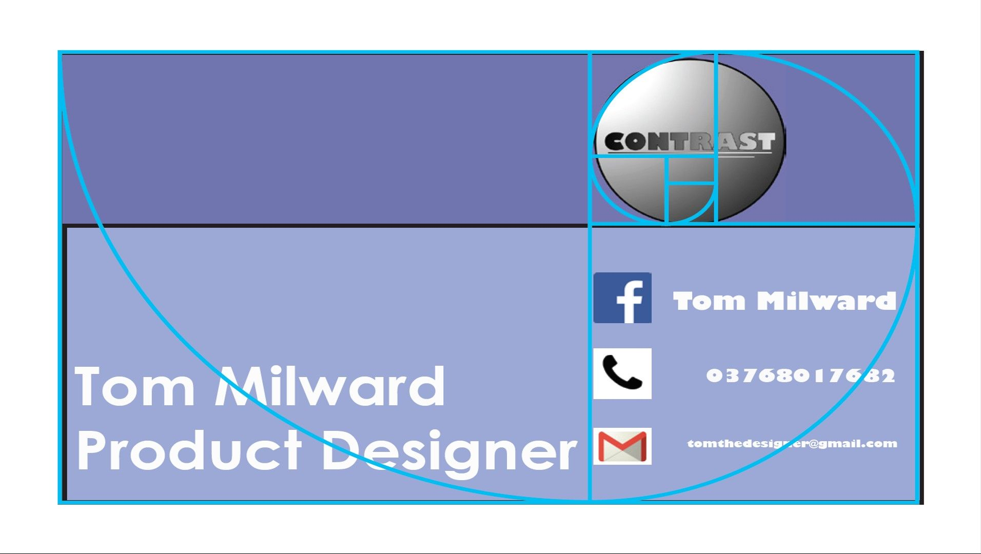 business card using golden ratio with guide pde1350 design