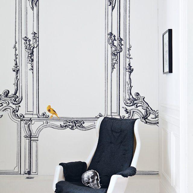 Une maison classique en trompe lu0027œil Wallpaper and Walls - dessiner une maison en 3d