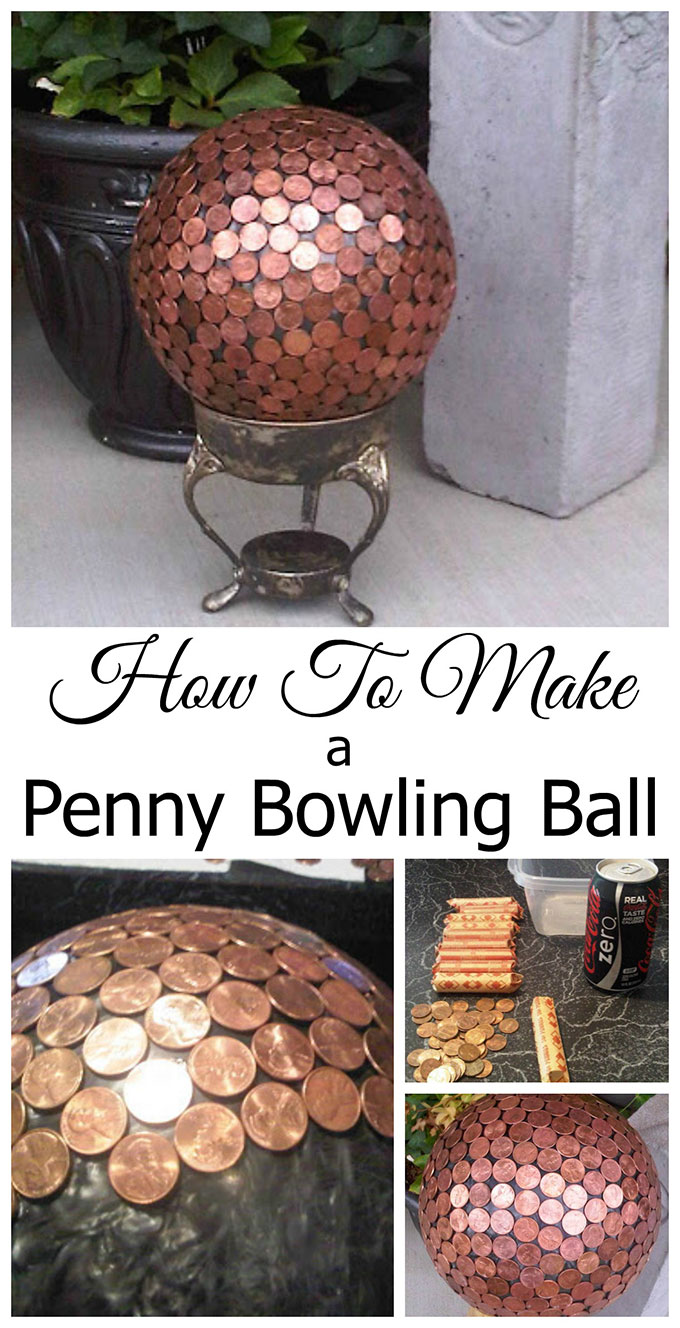 How to Make A Penny Bowling Ball is part of Garden art diy, Bowling ball garden, Bowling ball yard art, Garden balls, Garden art crafts, Bowling ball crafts - How to make a penny bowling ball, fun and unique yard art for your garden  And some people say the copper pennies repel slugs!