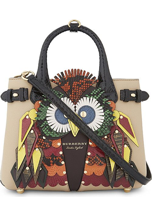 Burberry Banner Exotic Owl Leather Tote Italianist Handbags
