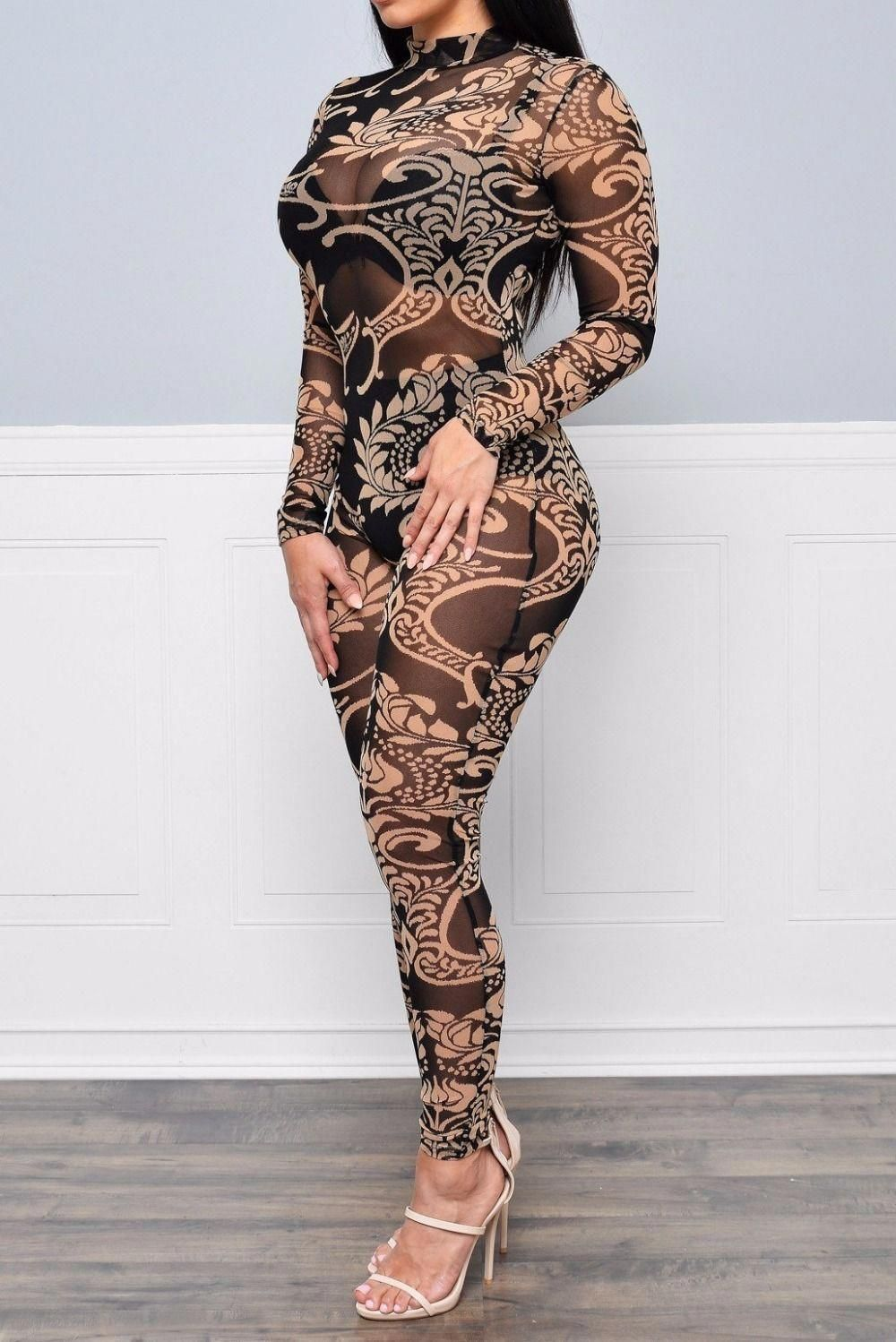 e4030e0f7cba see through skinny Romper jumpsuits full length sexy long Sleeve cheap  price Casual New Style 2017 lace voile print Womens