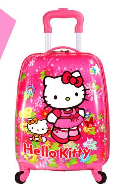 373b594fb0 Baby Girls Cute Hello Kitty Trolley Luggage Children ABS School Bags With  Wheels Kids 16   18   Cartoon Brand Travel Suitcase