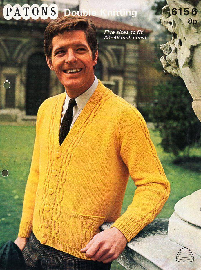 mens cardigan knitting pattern pdf DK cable jacket v neck pockets ...