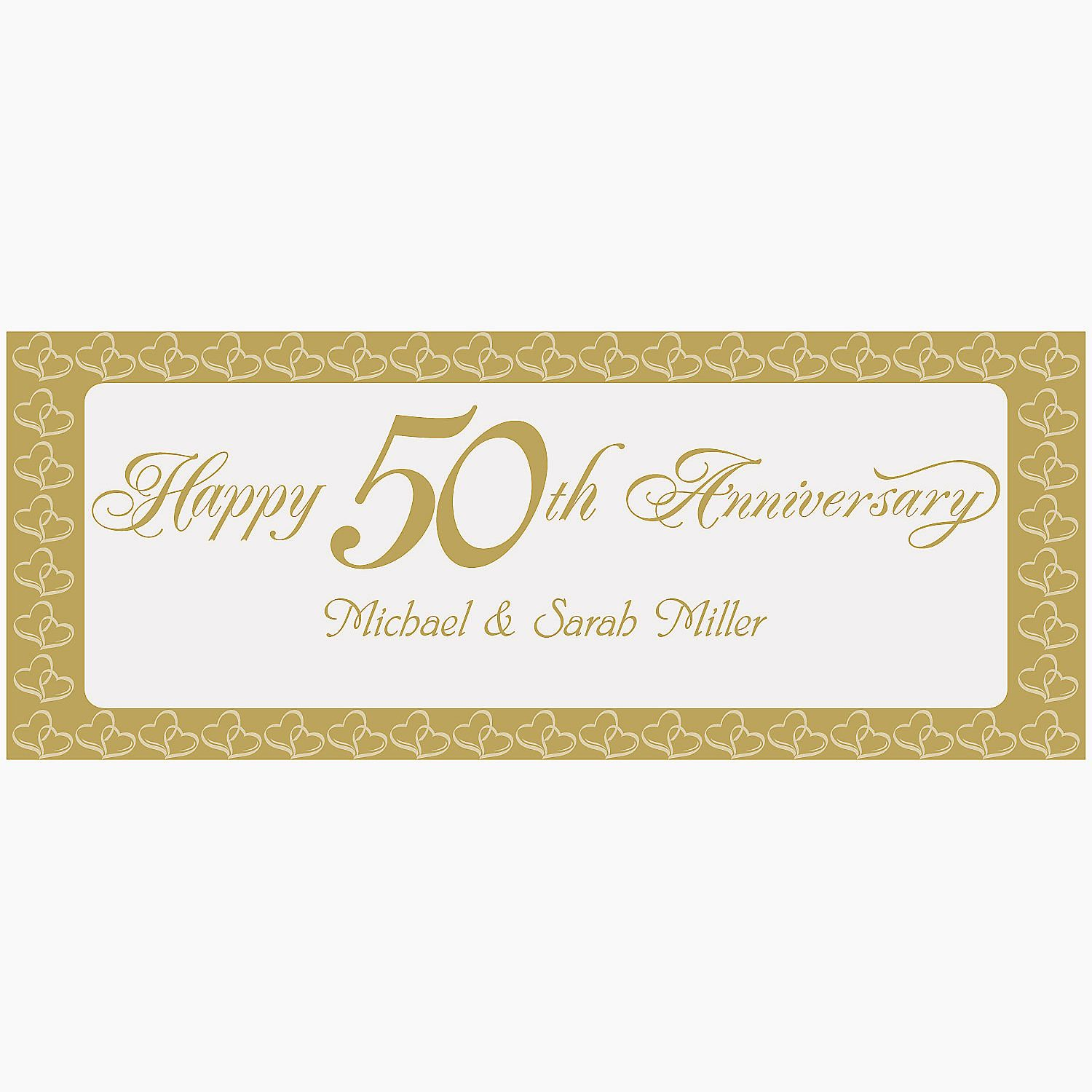 Personalized two hearts happy th anniversary banner