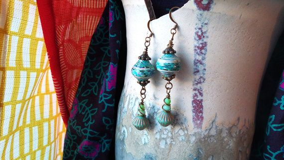 Bright Blue Speckled Paper Bead Earrings with Mixed Blue Glass