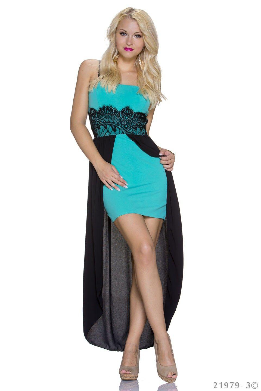 €49,95 turquoise highlow jurk met zwarte chiffon  www.Dasonia.com Bestel voor 17:30 en ontvang morgen! Of bezoek onze showroom te Capelle aan den IJssel - Rotterdam