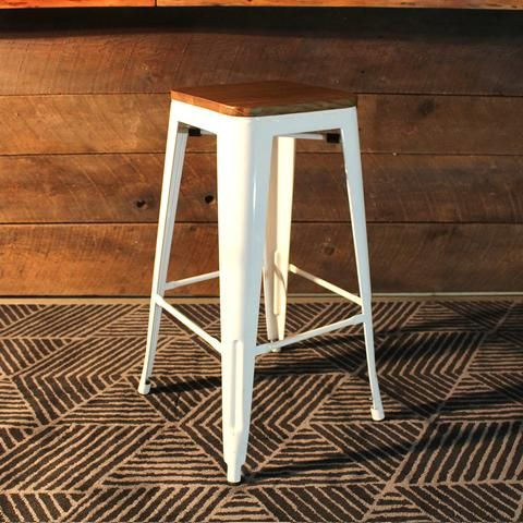 Swell Tolix Style Bar Stool With Wooden Seat White Metal 76Cm Short Links Chair Design For Home Short Linksinfo