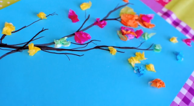 Spring Crafts For Kids Blooming Spring Tree With Tissue Paper