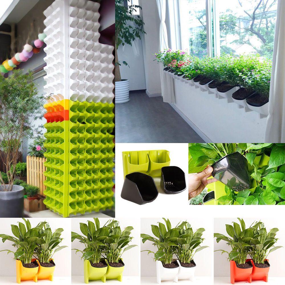 2 Pocket Stackable Vertical Wall Planter Self Watering Hanging
