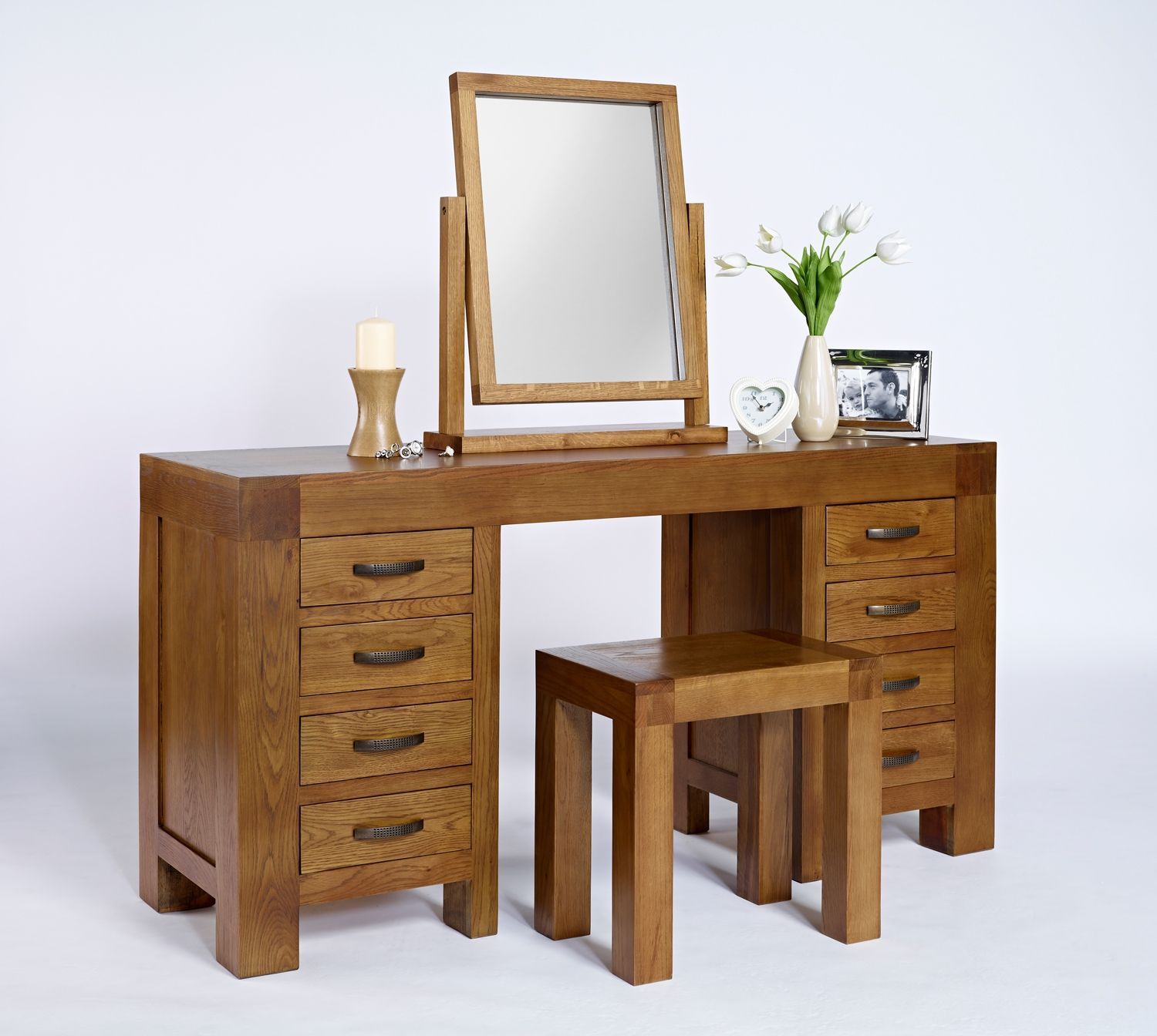 Santana Reclaimed Oak Dressing Table with 8 Drawers