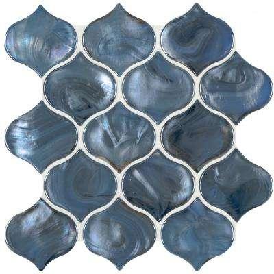 glossy glass mesh mounted mosaic tile