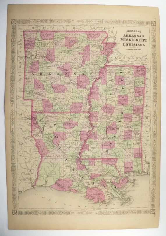 1800s Louisiana Map Mississippi Arkansas Map, Southern State Map ...