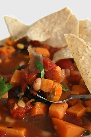 Three Bean and Sweet Potato Chili with Garlic, Lime, Cilantro, and Sweet Corn
