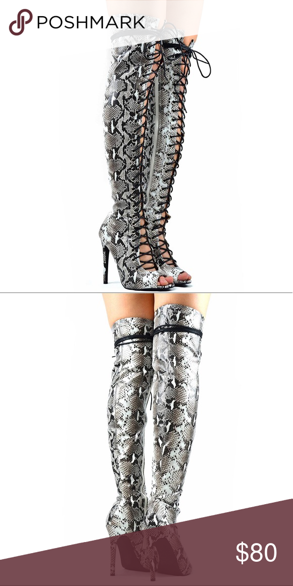 8ddafe5a6c7 The Baddest last up Snake skin boot Fits any thigh Snake lace up design  Shoes Lace Up Boots