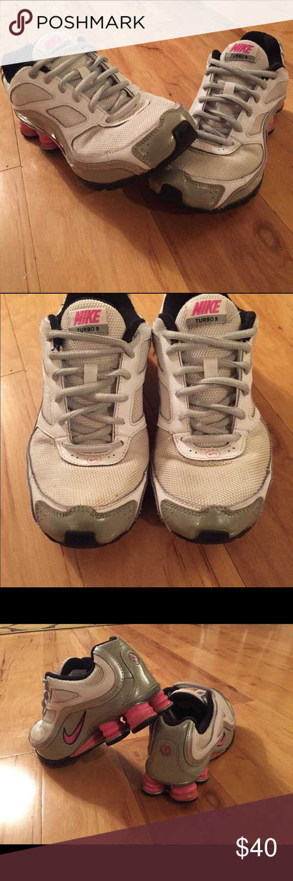 Girls Nike Shox Turbo 9 Metallic Silver Grey Pink Nike 366890-161 Very nice  used condition. No rips c33d0a56c
