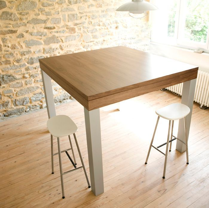 Grande table haute design noyer alu pas cher for Table haute industrielle