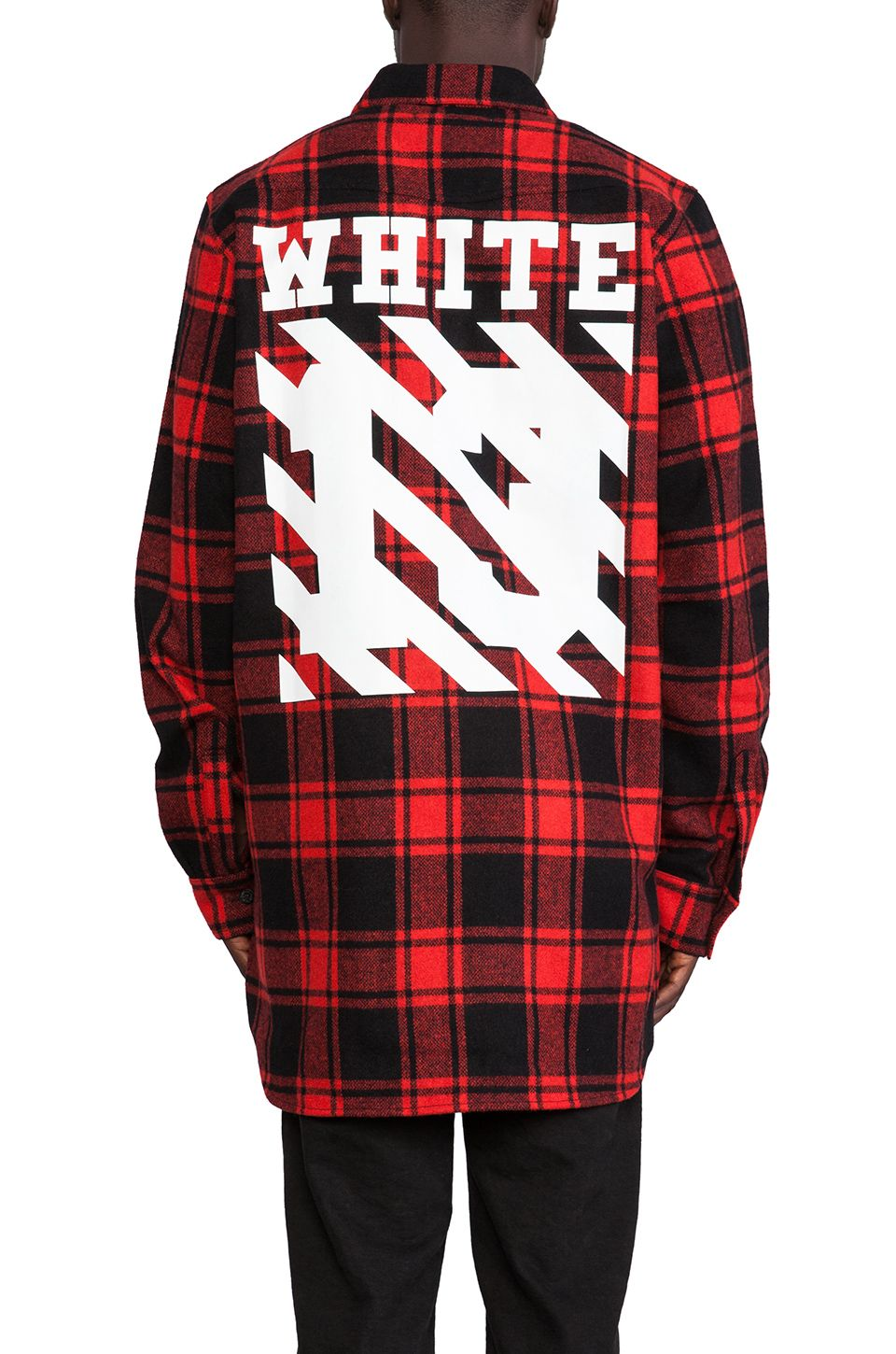 9a1fa6b7c OFF-WHITE, Button Down Wool-Blend Flannel (Red) | Streetwear and ...