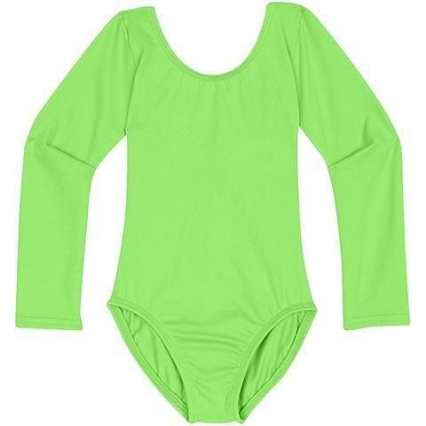 dd603c07b984 LIME GREEN Long Sleeve Leotard for Toddler and Girls - Crick   Beat ...