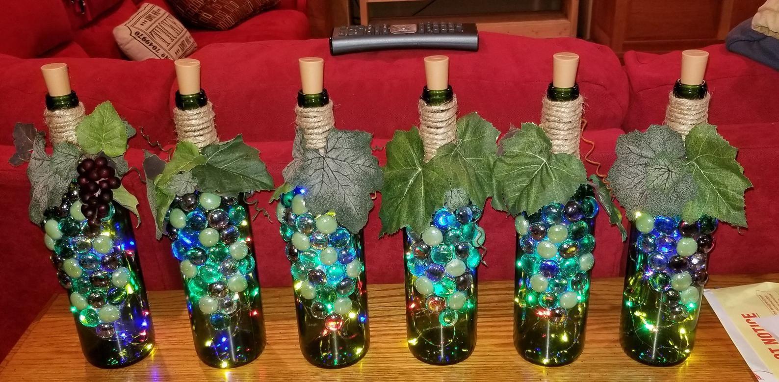 Lighted Wine Bottles Etsy In 2020 Lighted Wine Bottles Wine Bottle Crafts Wine Bottle Decor