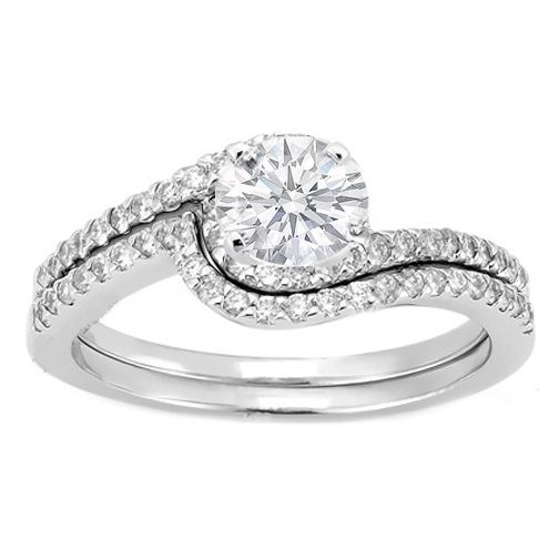 Swirl Diamond Engagement Ring and Matching Wedding Band in 14K White