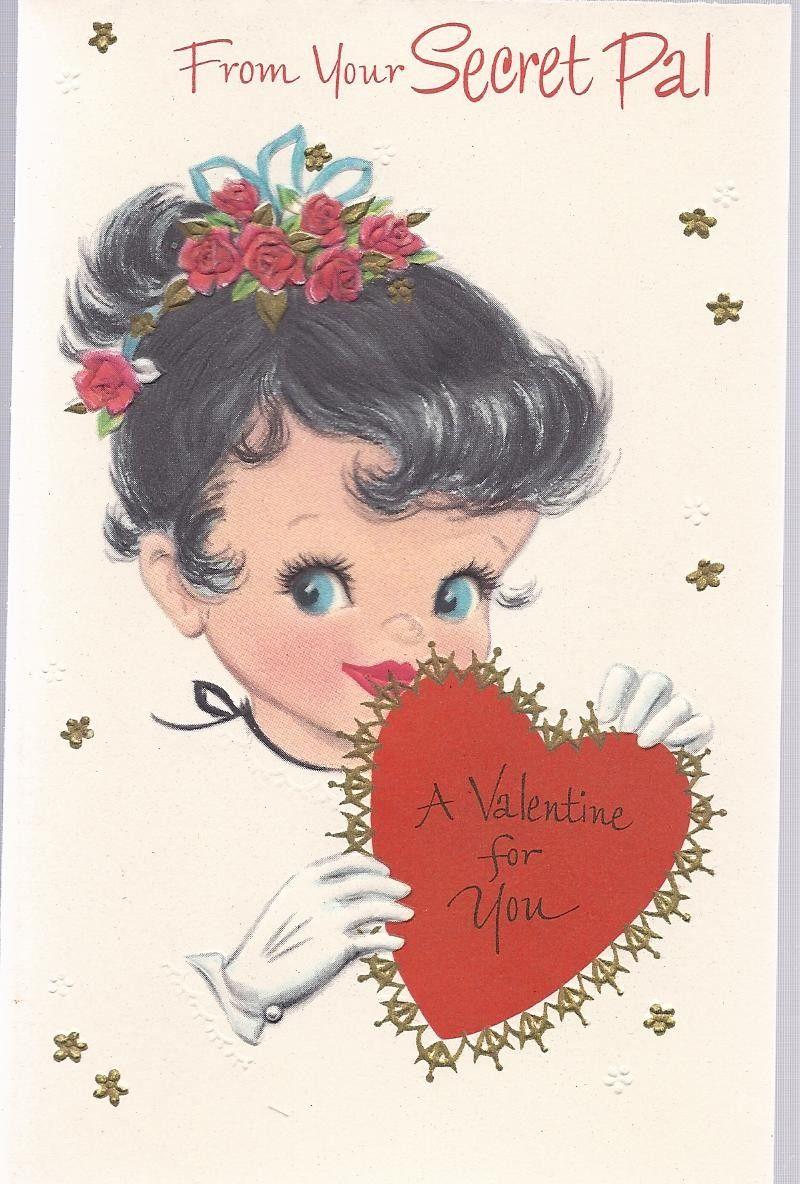 V50 Vintage 50s Unused Valentine Greeting Card For Secret Pal