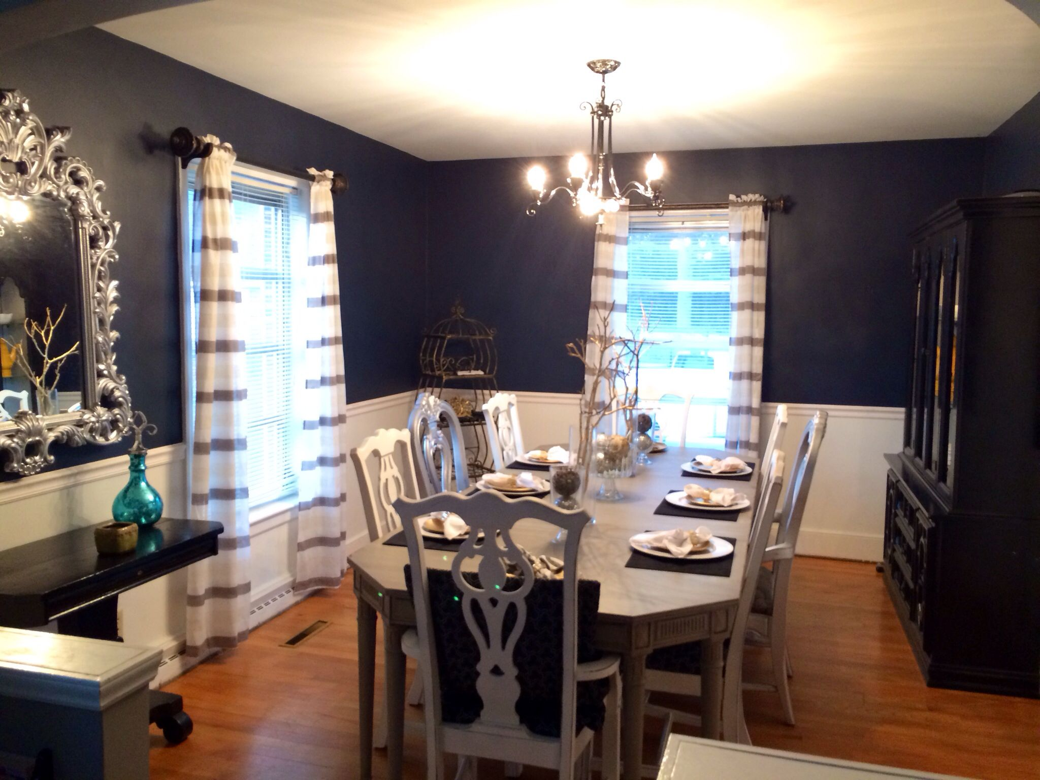 My navy dining room the color is hale navy by benjamin for Navy dining room ideas