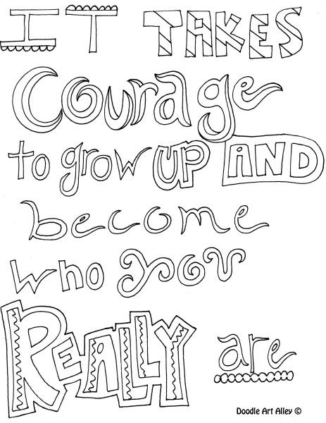 Doodle coloring pages with quotes & inspirational words