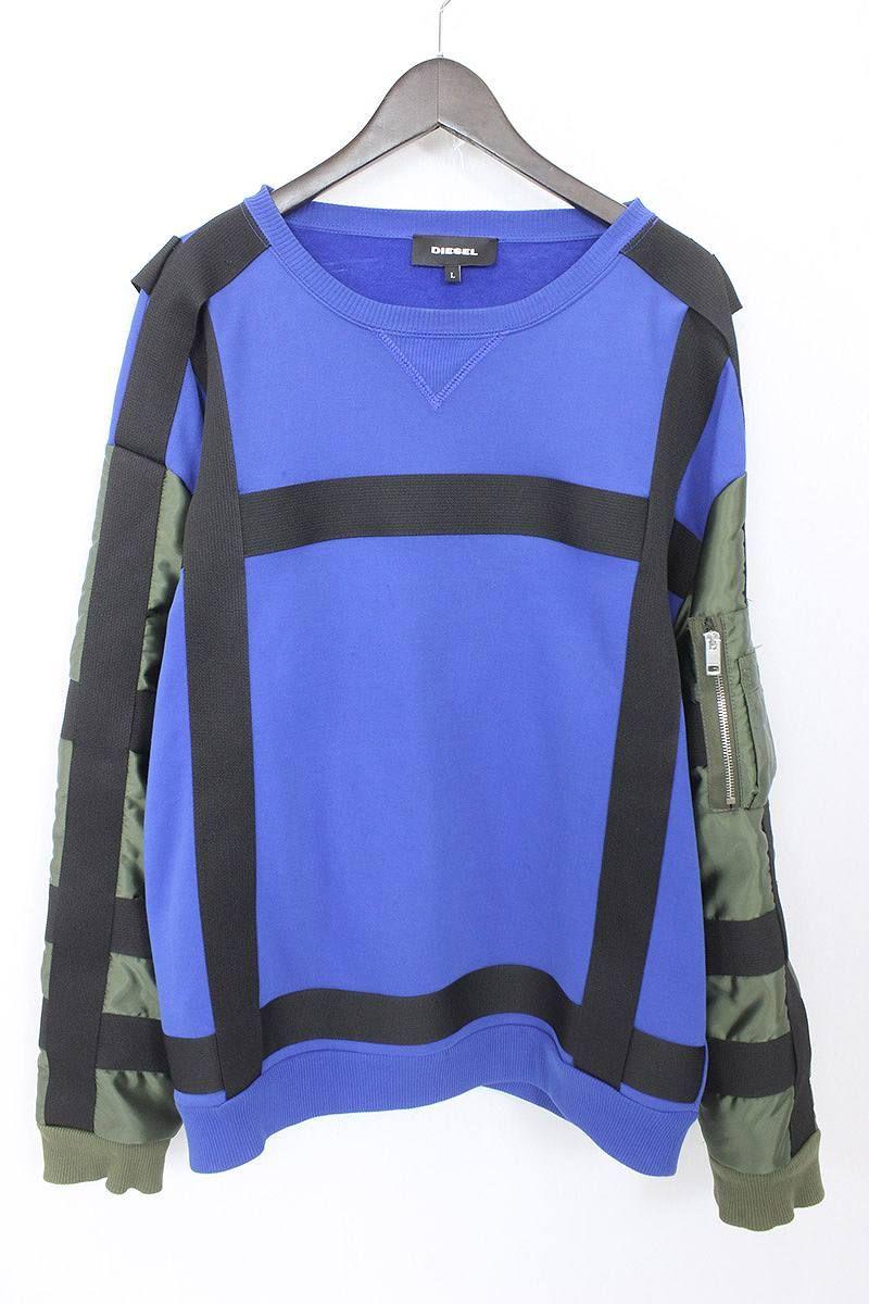 b89b8f07e Diesel /DIESEL sleeve change parachute sweat shirt (L/ blue X khaki X  black) bb50#rinkan*B