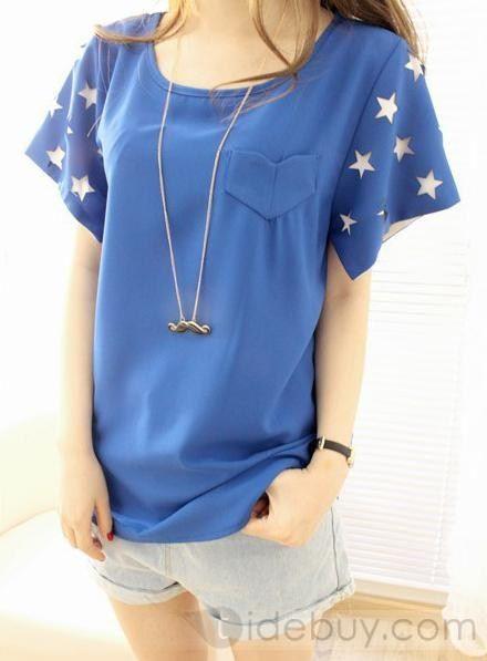 ヴォーグ韓国スタイルシフォンラウンドカラーTシャツ