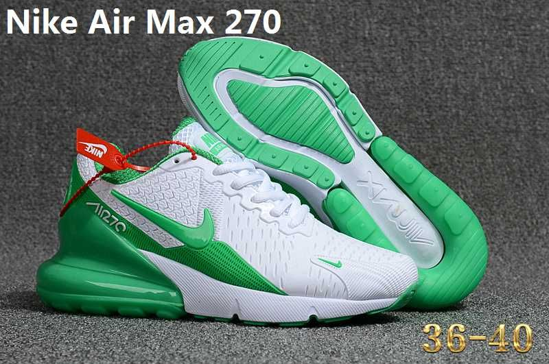 buy popular 7687b a631e Nike Air Max 270 KPU Green White Women Shoes