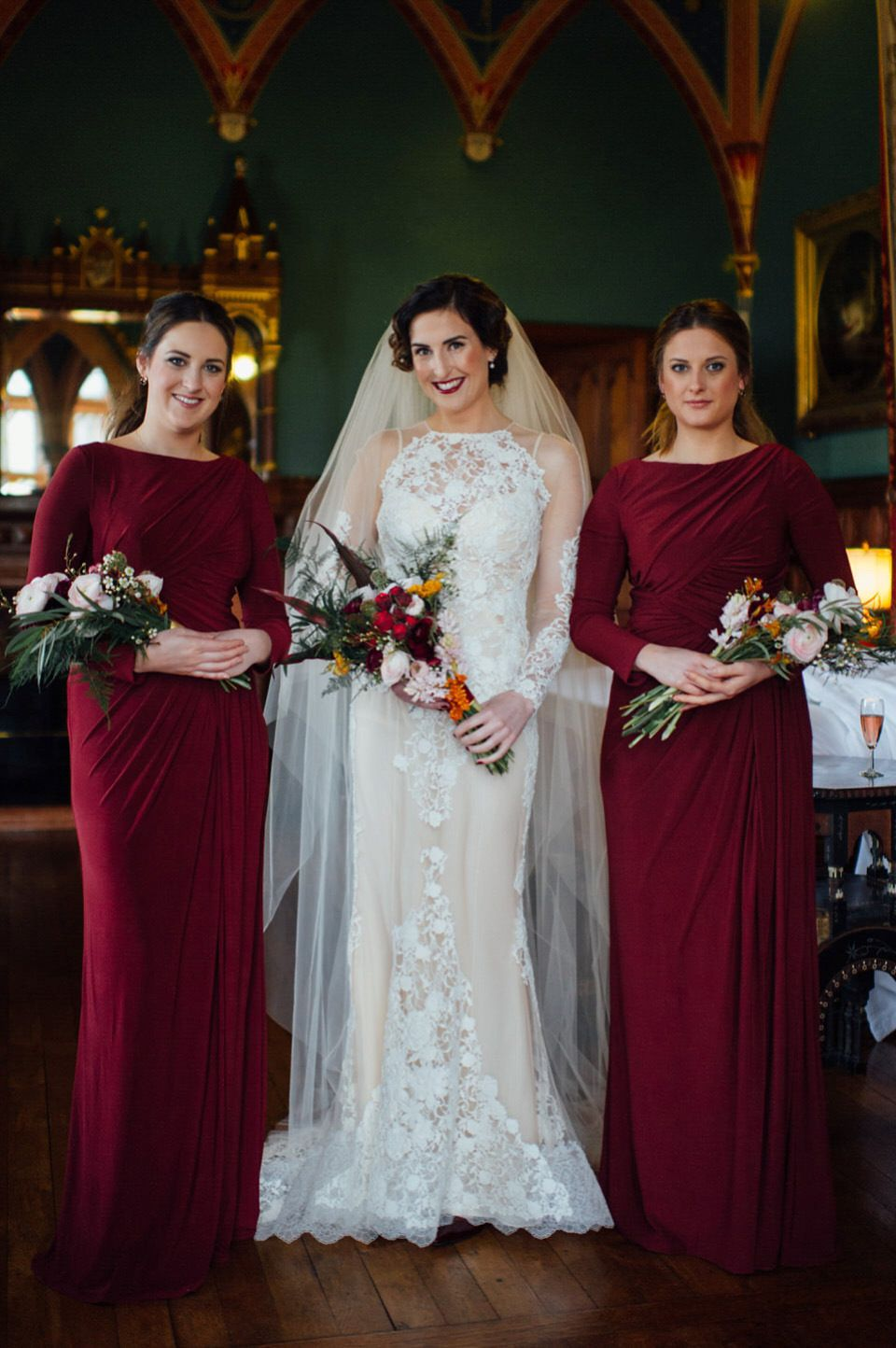 A yolancris gown and bridesmaids in burgundy for a humanist winter a yolancris gown and bridesmaids in burgundy for a humanist winter wedding ombrellifo Images
