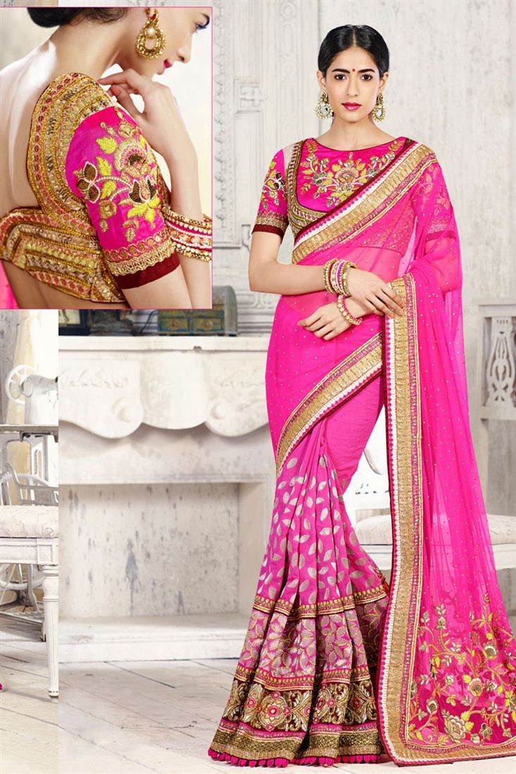 Scintillating Wedding Bridal Embroidered Saree