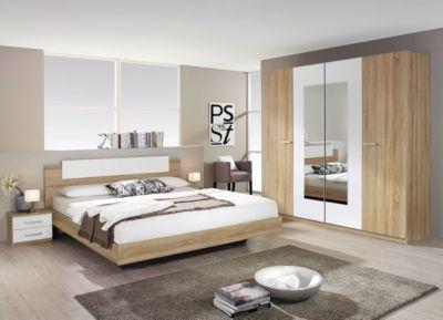 Eiche Schlafzimmer ~ Schlafzimmer mit bett cm eiche sägerau alpinweiss woody