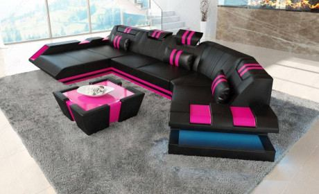Leather Sofa New Jersey C Shape With Led In 2020 Leather Sofa Modern Leather Sofa Modern Sofa Sectional