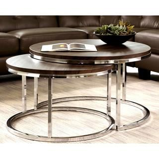 nesting coffee table round mergot modern chrome 2piece cocktail