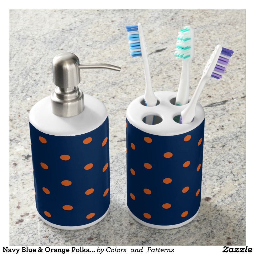 Navy Blue Orange Polka Dots Pattern Bath Set Shower Curtains Beach Towels Mats Design Home
