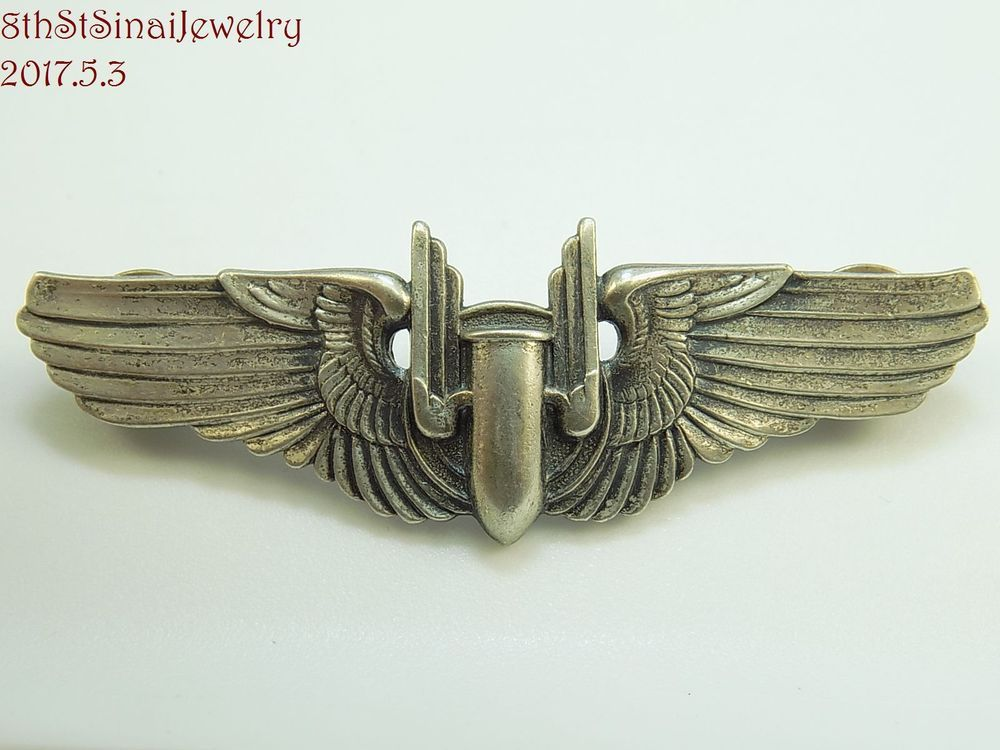 Wwii Us Military Sterling Silver Air Pilot Bomber Gunner