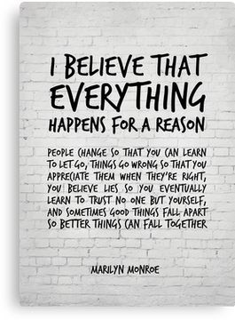 I believe everything happens for a reason - Marily