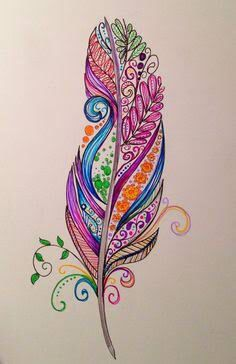 Gel Pens And Pencils Feather Tattoo Design