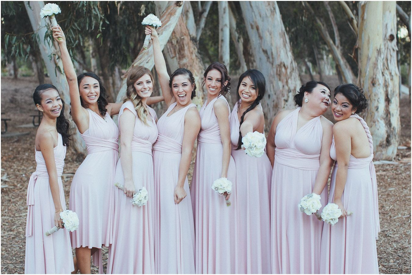 My beautiful bridesmaids in their chalk pink dessy twist wrap my beautiful bridesmaids in their chalk pink dessy twist wrap dresses 3 ombrellifo Image collections