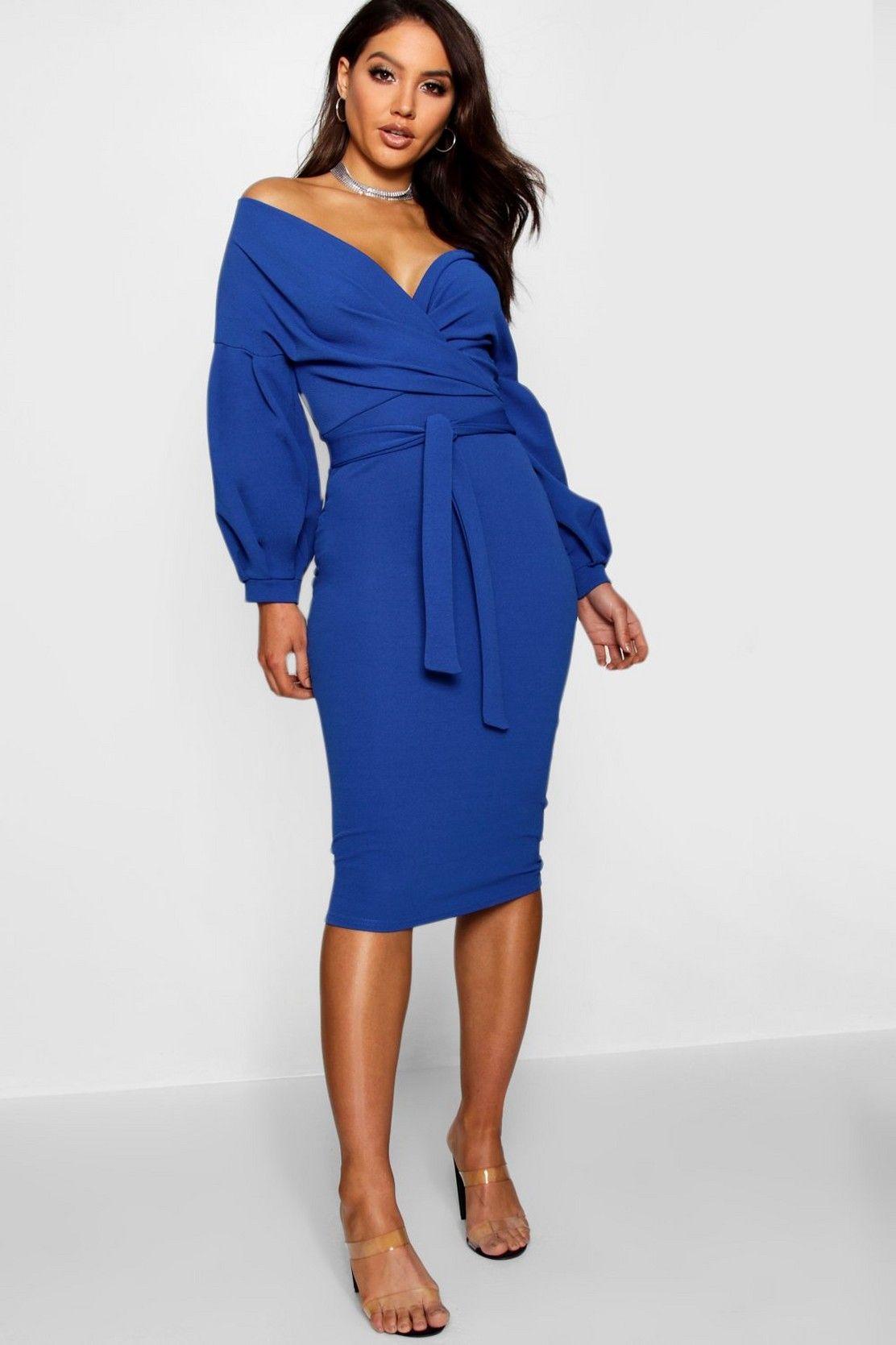 Off The Shoulder Wrap Midi Dress Boohoo Uk Blue Midi Dress Midi Dress Bodycon Fashion