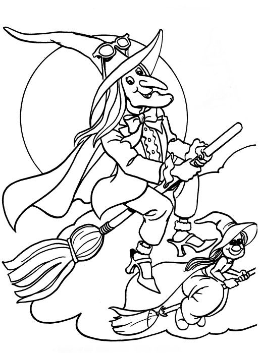 Printable Halloween Coloring Page Flying Witches Halloween Coloring Pictures Halloween Coloring Witch Coloring Pages