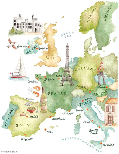 How To Draw A Map Of France.Italianpoppies Classy Chic Travel Maps Map Watercolor Map